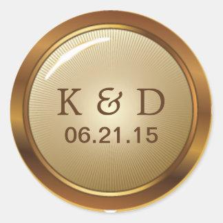 Vintage Gold Metallic Wedding Classic Round Sticker