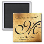 Vintage Gold Monogram Save the Date 2 Inch Square Magnet