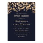 Vintage Gold Navy Floral Sweet Sixteen Invitation