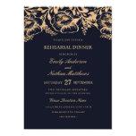Vintage Gold Navy Floral Wedding Rehearsal Dinner Card