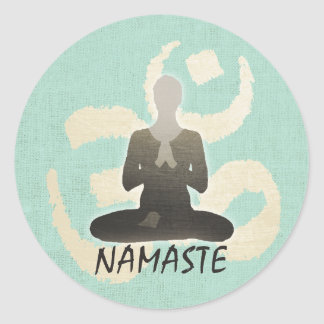Vintage Gold Om Sign Green Linen Namaste Yoga Classic Round Sticker