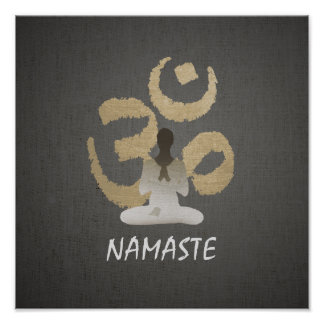 Vintage Gold Om Sign Namaste Yoga & Mediation Poster