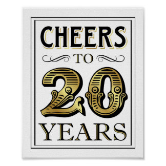 Vintage Gold Party CHEERS TO 20 YEARS Sign Print