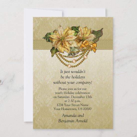 Vintage Gold Poinsettias Holiday Invitation