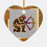 VINTAGE Gold PREMIUM gifts: Hunter Bow n Arrow TIP Double-Sided Heart Ceramic Christmas Ornament