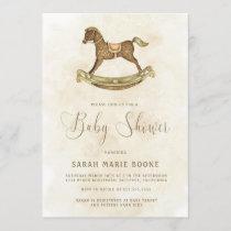 Vintage Gold Rocking Horse Baby Shower Invitation
