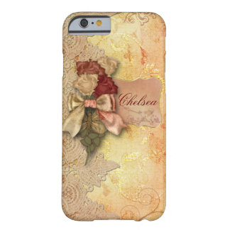 Vintage Gold Roses and Lace Personalized Barely There iPhone 6 Case