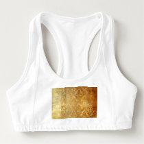 Vintage,gold,rustic,damasks,worn,floral,pattern,sh Sports Bra
