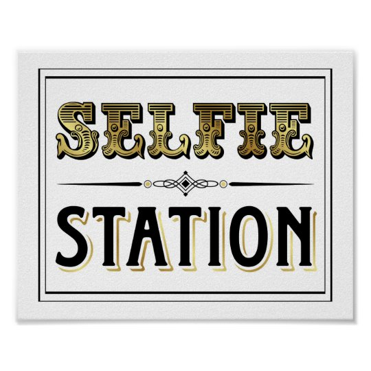 graphic relating to Selfie Station Sign Free Printable named Traditional Gold SELFIE STATION Indication Print