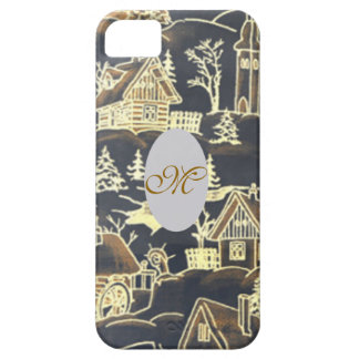 Vintage Gold Silver Monogram Initial Antique Xmas iPhone 5 Cover