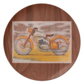 Vintage Gold Socovel Motorcycle Print Melamine Plate