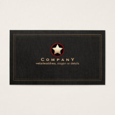 Vintage Gold Star Logo Professional Black Business Card at Zazzle