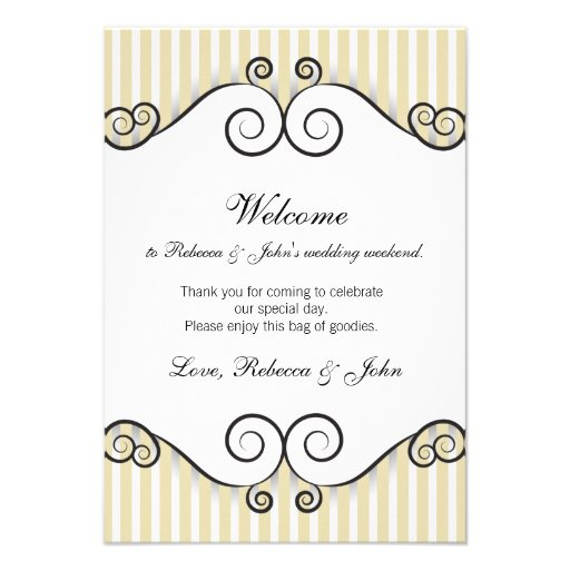 "Vintage Gold Striped Wedding Welcome Card 3.5"" X 5"" Invitation Card 