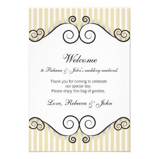 "Vintage Gold Striped Wedding Welcome Card 3.5"" X 5"" Invitation Card | Zazzle"
