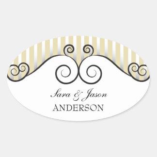 Vintage Gold Stripes & Irongate Swirls wedding Oval Sticker
