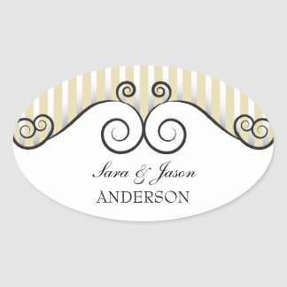 Vintage Gold Stripes Irongate Swirls wedding Oval Stickers