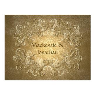 Vintage Gold Swirls on Gold Background Save The Da Postcard