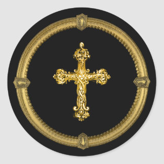 Vintage Gold Tone Cross and Deco Keyhole Frame Classic Round Sticker
