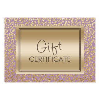 Vintage Gold & Violet Leopard Gift Certificates Large Business Cards (Pack Of 100)