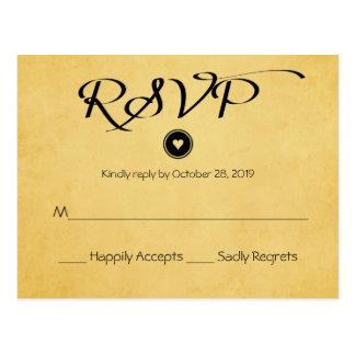Vintage Gold Yellow RSVP Wedding Party Response Postcard