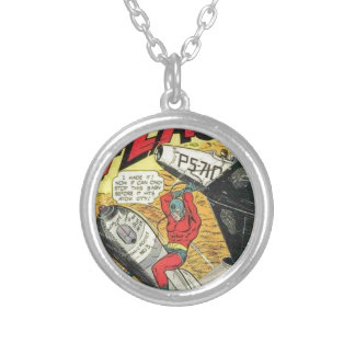 Vintage Golden Age Comic Book Silver Plated Necklace