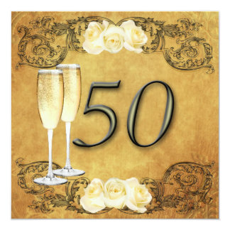 Vintage Golden Anniversary 5.25x5.25 Square Paper Invitation Card