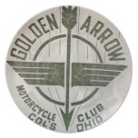 Vintage Golden Arrow Motorcycle Logo Party Plate