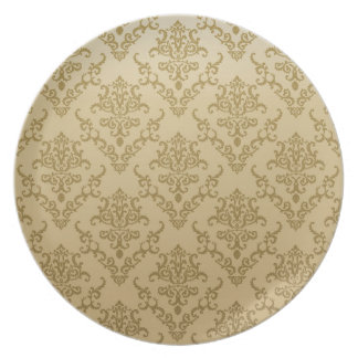 Vintage golden beige elegant victorian pattern dinner plates
