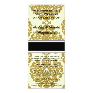 "Vintage Golden Brown Damask Anniversary Party Invi 4"" X 9.25"" Invitation Card"