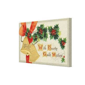 Vintage Golden Christmas Bells and Holly Gallery Wrapped Canvas