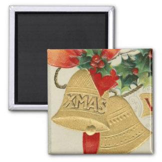 Vintage Golden Christmas Bells and Holly Magnet