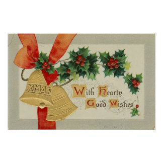 Vintage Golden Christmas Bells and Holly Print