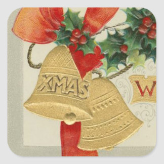 Vintage Golden Christmas Bells and Holly Square Stickers