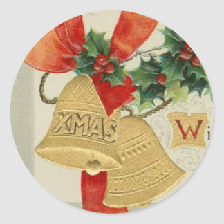 Vintage Golden Christmas Bells and Holly Stickers