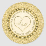 Vintage Golden Faux Foil Heart Classic Round Sticker