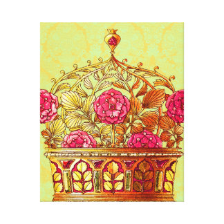Vintage Golden Floral Crown Canvas Print
