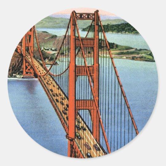 Vintage Golden Gate Bridge Classic Round Sticker