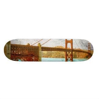 vintage golden gate bridge energy in san francisco skateboard deck