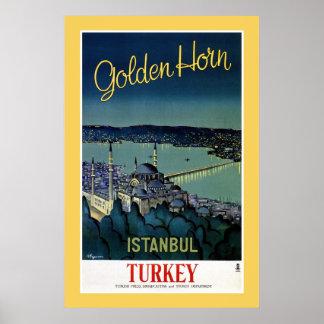 Vintage Golden Horn Istanbul Turkey travel Poster
