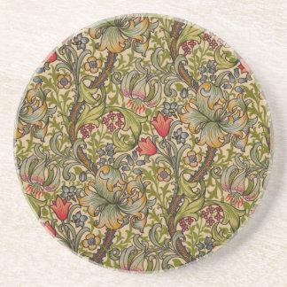Vintage Golden Lilly Floral Design Coaster