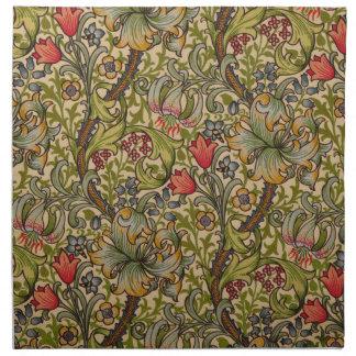 Vintage Golden Lilly Floral Design Napkin