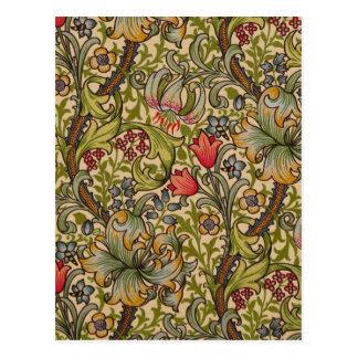 Vintage Golden Lilly Floral Design Postcard