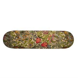 Vintage Golden Lilly Floral Design Skateboard