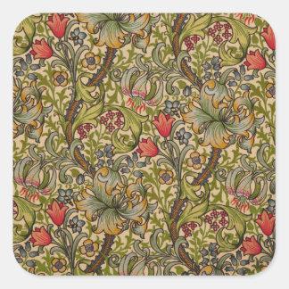 Vintage Golden Lilly Floral Design Square Sticker