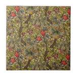 Vintage Golden Lilly Floral Design Tile