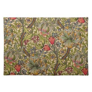 Vintage Golden Lilly Floral Design William Morris Cloth Placemat