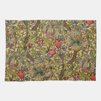 Vintage Golden Lilly Floral Design William Morris Kitchen Towel