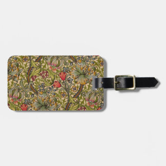 Vintage Golden Lilly Floral Design William Morris Luggage Tag