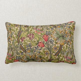 Vintage Golden Lilly Floral Design William Morris Lumbar Pillow