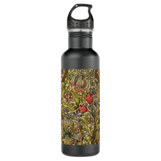 Vintage Golden Lilly Floral Design William Morris Stainless Steel Water Bottle